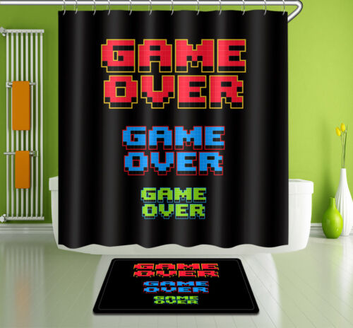 "72//79/""Game Over--Bathroom Waterproof Fabric SHOWER CURTAIN /& MAT /&12HOOK 3194"