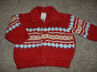 Gymboree Baby Boys Red Blue Cardigan Sweater Size 6-12 months mos Fall Winter