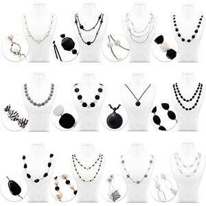 Halskette-Kette-Collier-Muster-Damen-Grau-Weiss-Schwarz-Modeschmuck-Perlen-Lang