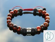 Aries Jasper/Lava Birthstone Bracelet 7-8'' Macrame Healing Stone Chakra Reiki