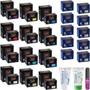 50 / 100 SICO Kondome Condome optional Aquaglide/Bioglide Gleitgel Durex Intense