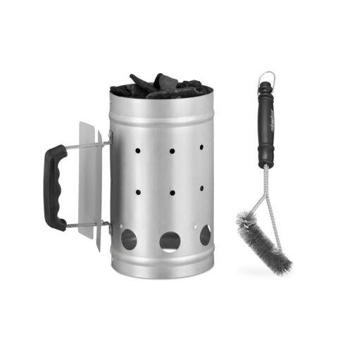 2 tlg. Grill-Set, Anzündkamin, Grillbürste dreieckig, Grillanzünder Grillstarter