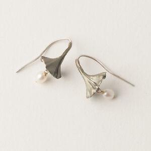 Image Is Loading Michael Michaud Pearl Ginkgo Earrings Silver Season Jewelry