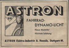 STUTTGART, Werbung / Anzeige 1940, ASTRON Elektro-Industrie Fahrrad-Dynamo-Licht