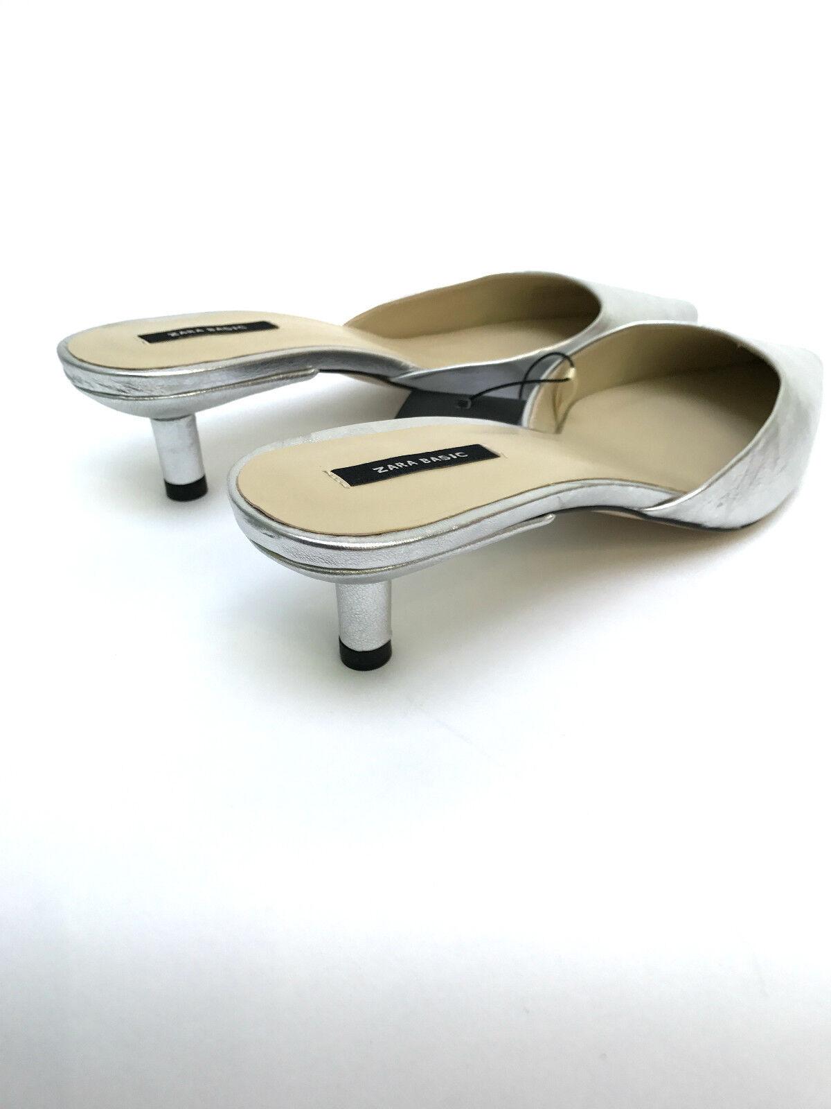 Zara Silber Leder Spitz Riemen Mittelhoch Slipper UK 3 Verpackt 4 5 6 Neu Verpackt 3 b31d00