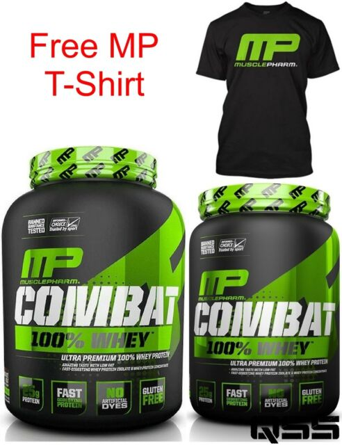 MUSCLEPHARM COMBAT SPORT 100% WHEY PROTEIN POWDER 1.8KG - 4LBS + FREE T-