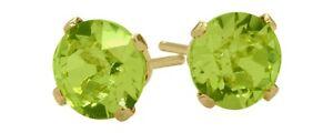 1-00-Ct-Genuine-5mm-Round-Peridot-14K-YG-Stud-Earrings