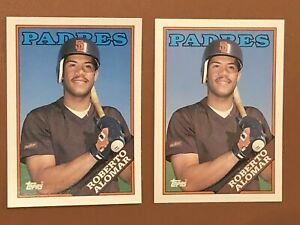 1988-Topps-Traded-Roberto-Alomar-Lot-Of-2-Rookie-Cards-4T-MINT-Padres-HOF