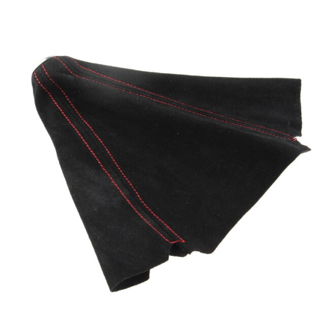 1x Car Gear Shift Knob Shifter Boot Cover Auto Red Stitch Black Nubuck Leather