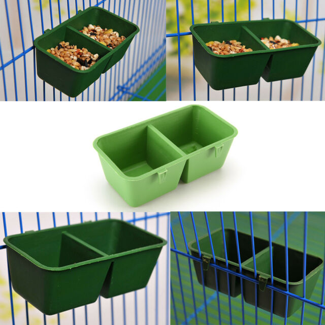 2 in 1 Parrot Food Water Bowl Cups Bird Pigeons Cage Sand Cup Feeding Feeder gf