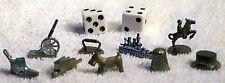 9 Monopoly Game Tokens -Ship, Shoe, Thimble, Dog, Cannon, Hat, Iron, Wheelbarrow