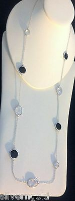 "CZ By The Yard Necklace-Long-Black-Clear-Silver Rhodium Plated-39""-3 Feet Plus"