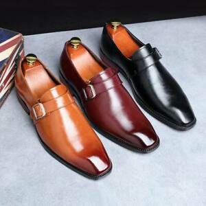 Men-039-s-Buckle-Oxfords-Business-Dress-Formal-Leather-Shoes-Slip-On-Casual-Loafers