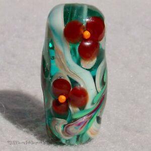 GARANCE Handmade Art Glass Focal Bead Flaming Fools Lampwork Art Glass SRA