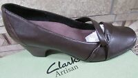 Clarks Artisan Sugar Plum Brown Pumps Shoes Womens 9.5 Two Inch Heels