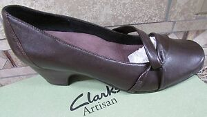 4c0ad9406 NEW CLARKS ARTISAN SUGAR PLUM BROWN PUMPS SHOES WOMENS 10 TWO INCH ...