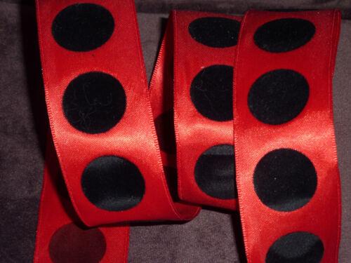 Red Satin Black Velvet polka Dots Ladybird 38mm wide  Decorative Wired Ribbon