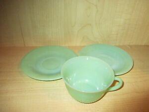 Vintage-Fireking-Jadeite-1-Alice-Cup-amp-2-Jane-Ray-Saucers