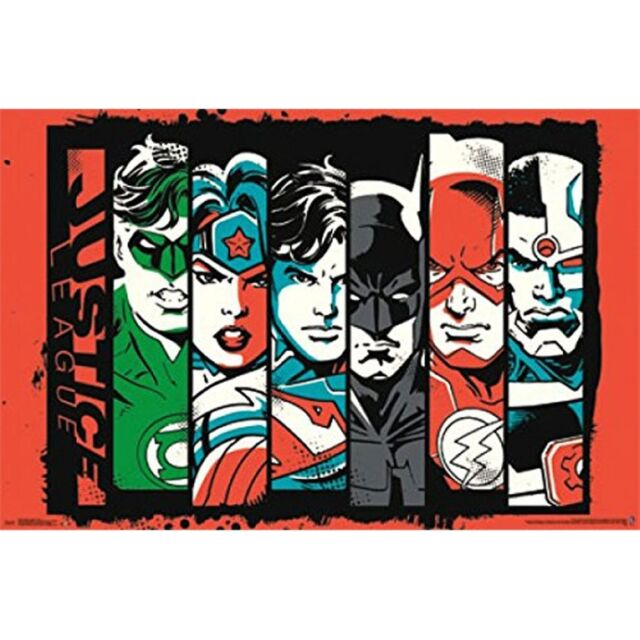 Justice league of america bars 22x34 standard wall art poster