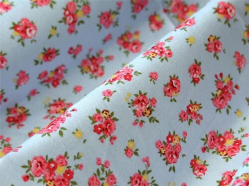 Bleu S Rose et Jaune Floral 100/% popeline de coton matériau Craft Bunting robe