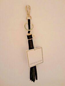 Shiraleah-TASSEL-11in-Vegan-Leather-Shiny-Gold-Clasp-Bag-Charm-Key-Chain-Black