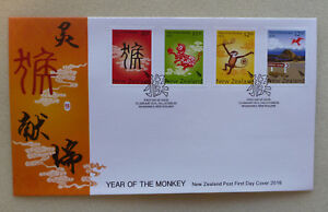2016-NEW-ZEALAND-YEAR-OF-THE-MONKEY-SET-OF-4-STAMPS-FDC-FIRST-DAY-COVER