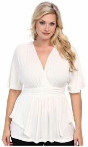 Kiyonna-Women-039-s-Top-2X-White-Promenade-Style-USA-V-Neckline-Empire-Plus-Size