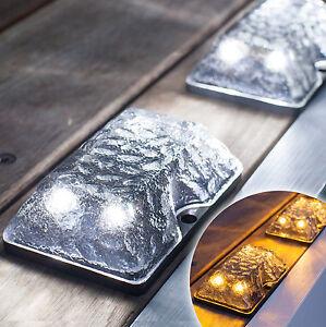 4er set led solar pflastersteine weg beleuchtung garten leuchte milchglas stein ebay. Black Bedroom Furniture Sets. Home Design Ideas