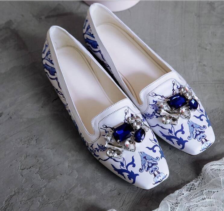 Estampado Azul y blancoo para Mujeres Estrás con tacón tacón tacón Zapatos elegantes Caliente Talla 4.5-8  suministramos lo mejor