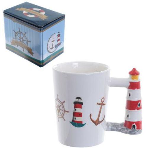 NOVELTY SEASIDE 3D HANDLE COFFEE MUG TEA CUP WITH GIFT BOX SEAGULL LIGHTHOUSE
