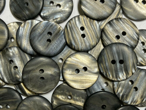 "HOT Faux Black//Smoke//Gold Rainbow Matte Poly Shell Button 19mm 3//4/"" 2hole"