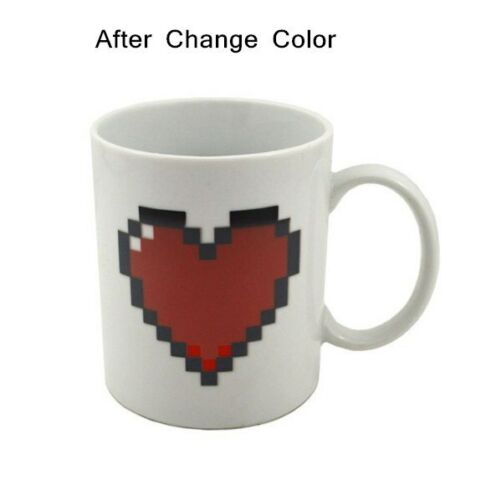 Tea Cup Set Ceramic Heart Magic Temperature Changing Color Mugs Coffee Milk Cup