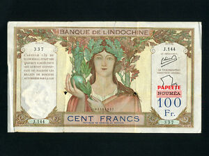 Tahiti-P-16A-100-Francs-1940-PAPEETE-Athena-PROVISIONAL-ISSUE-F-VF