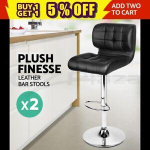 2x Bar Stools PU Leather Chrome Kitchen Barstool Chair Gas Lift Black 4059 9350062081877