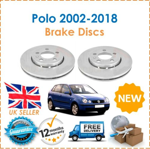 For VW Polo MK5 2002-2018 2 Front Coated Brake Discs 256MM /& Brake Pads Set New