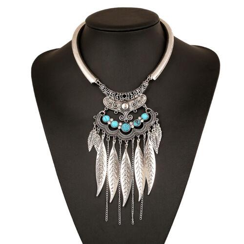Fashion Vintage Leaf Tassel Pendentif Chaîne Collier Tour de cou pour femmes Bijoux