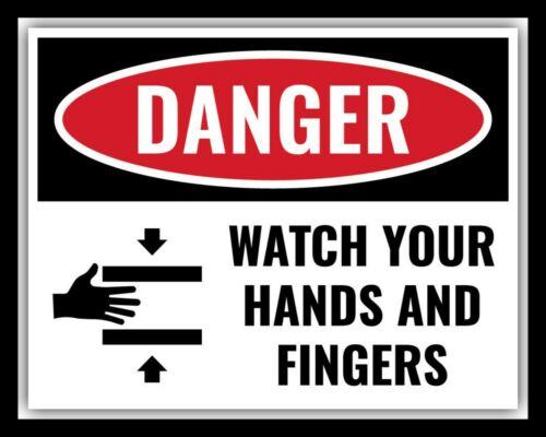 Danger Montre tes mains et doigts Machine Machines Plaque métal étain signe 1971