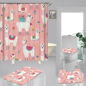 Cute Llama Pink Shower Curtain Bath Mat Toilet Cover Rug Alpaca Bathroom Decor