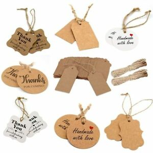 100pcs-Thank-You-With-Red-Heart-Kraft-Gift-Tags-Wedding-Party-Hang-Tag-Cards