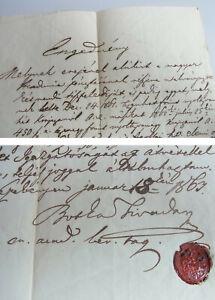 Botka Tivadar (1802-1885): Hungarian Certificate Kisvezekény 1863, Seal