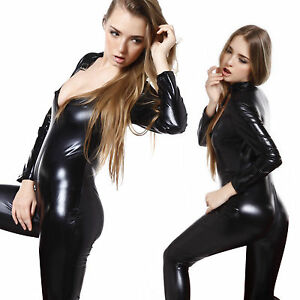 Black-Shiny-PVC-CATSUIT-Catwoman-Ladies-Fancy-Dress-COSTUME-8-10-12-14-16-18-20