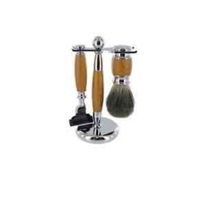 Artemis-light-wood-Razor-Mach-3-Shaving-Set-Badger-Brush-Traditional-Mens-Gift