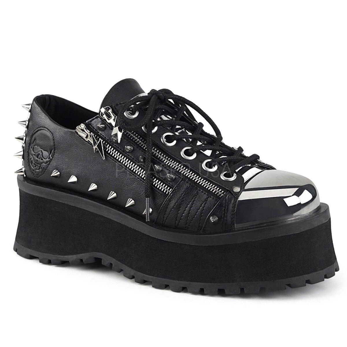 Demonia 2.75  Platform Black Grave Digger Skull shoes  4 5 6 7 8 9 10 11 12 13