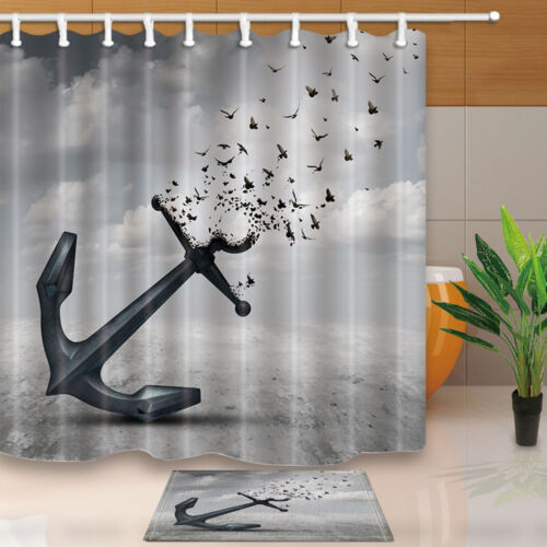 Anchors and birds Waterproof Polyester Fabric Shower Curtain & 12hooks 71*71in