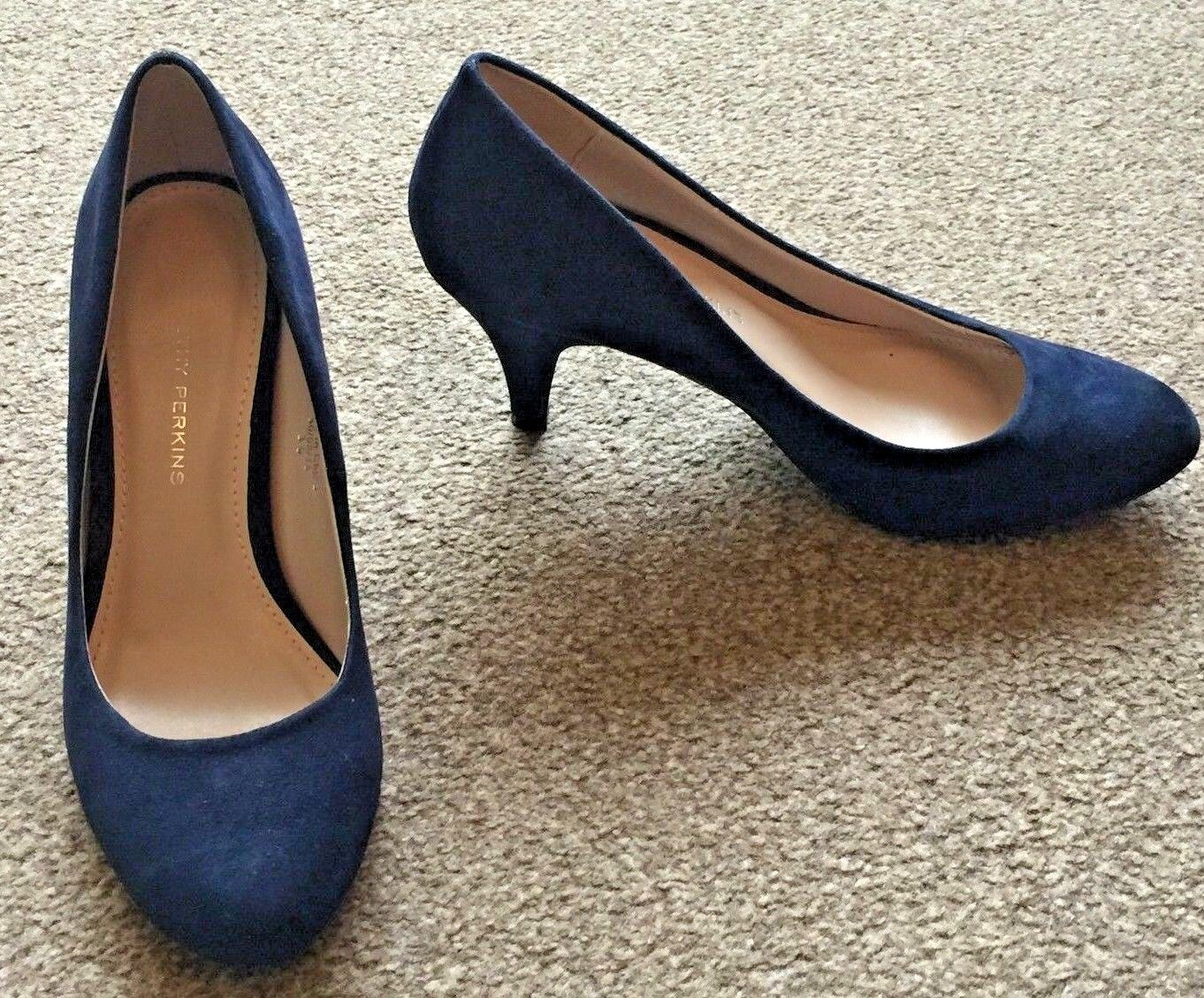 Ladies Dorothy Perkins Blue Faux Suede High Heels Size 4 SB6