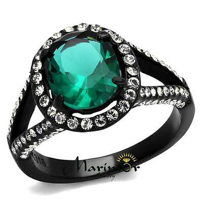 3.26Ct Blue Zircon Halo CZ Black Stainless Steel Engagement Ring Women's Sz 5-10