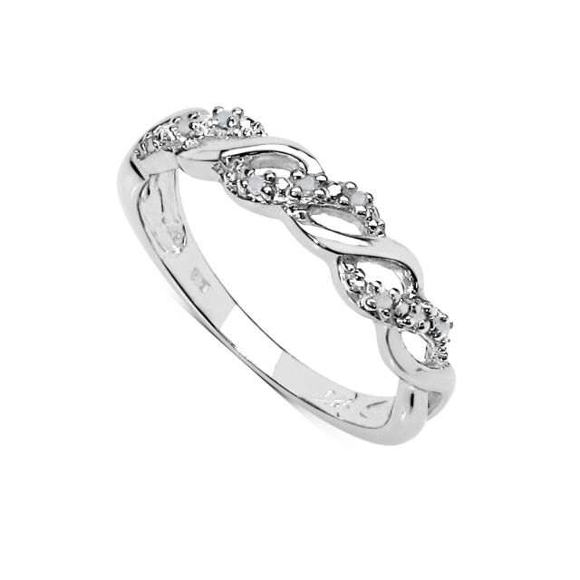 STERLING SILVER DIAMOND ETERNITY RING SIZE H - X ANNIVERSARY MOTHERS DAY GIFT