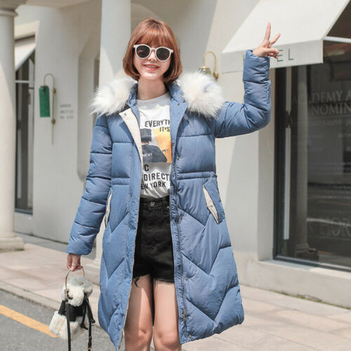 New Padded Womens Hooded Winter Coat Ladies Jacket Size 6 8 10 12 14 Parka Fur