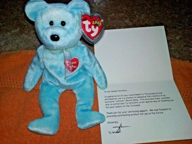 Buy Ty USA Retailer Thank You Bear 2000 With Card - Blue Beanie Baby ... f7e054436de