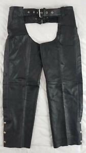 River Road Cuir Noir en Cuir Moto Pantalon Ceinture Motard chaps taille XL
